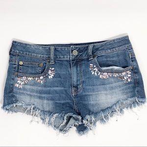 American Eagle embellished frayed denim shorts sz8